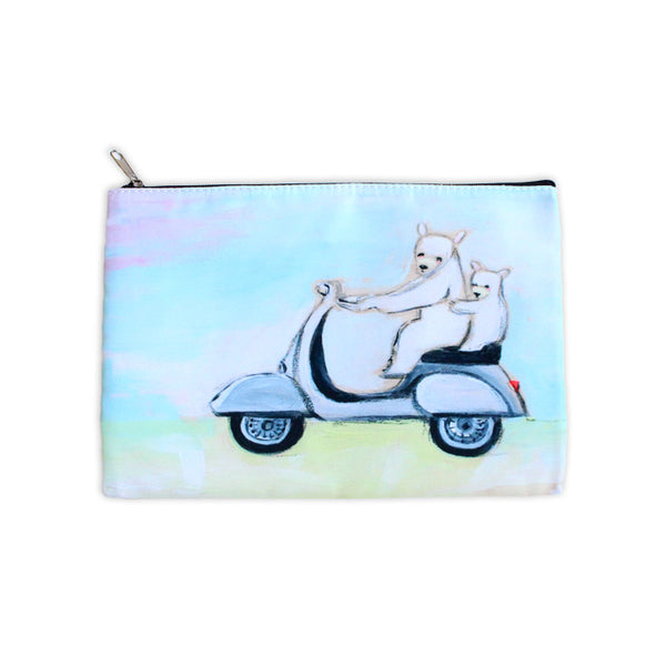 bears on a vespa | zipper pouch