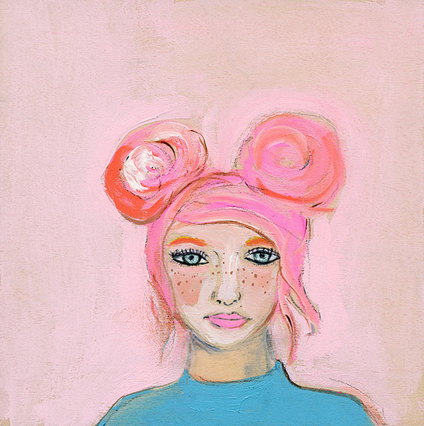 "Claudia 'Pink Girl' | 5"" x 5"" original"