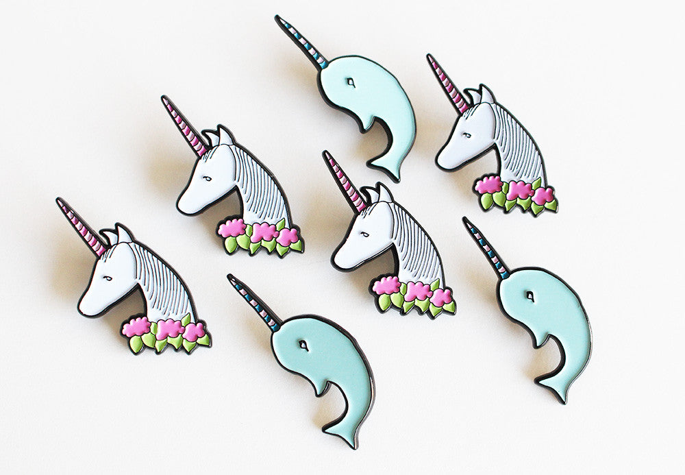 unicorn or narwhal enamel pins | limited edition