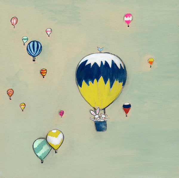 free like a bunny, a bear {& a bird} in a hot air balloon | print