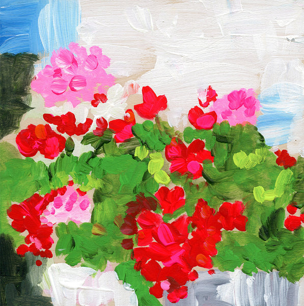 geranium | canvas or mini framed canvas | 1 of each available