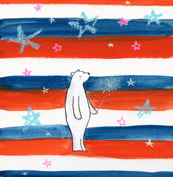 freedom bear | original on paper