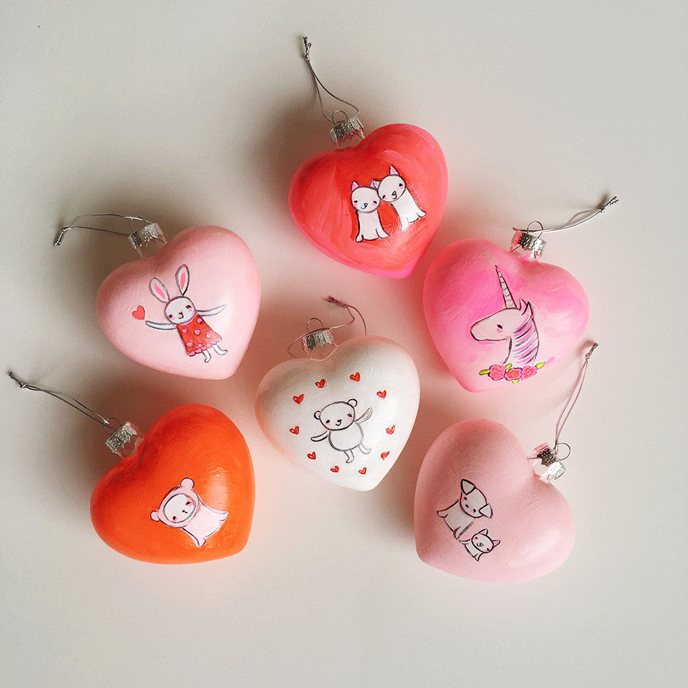 Heart Ornaments | hand painted