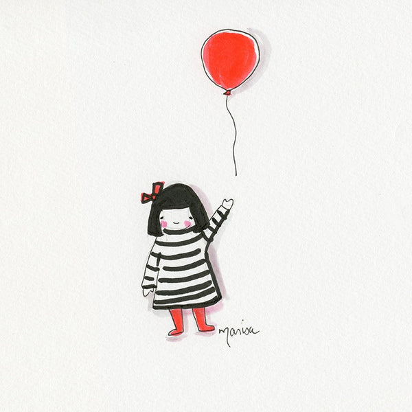 #6 Banksy Girl  | Original Ink Drawing