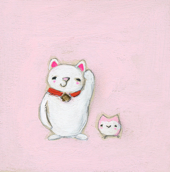 lucky cat and the lucky owl | print