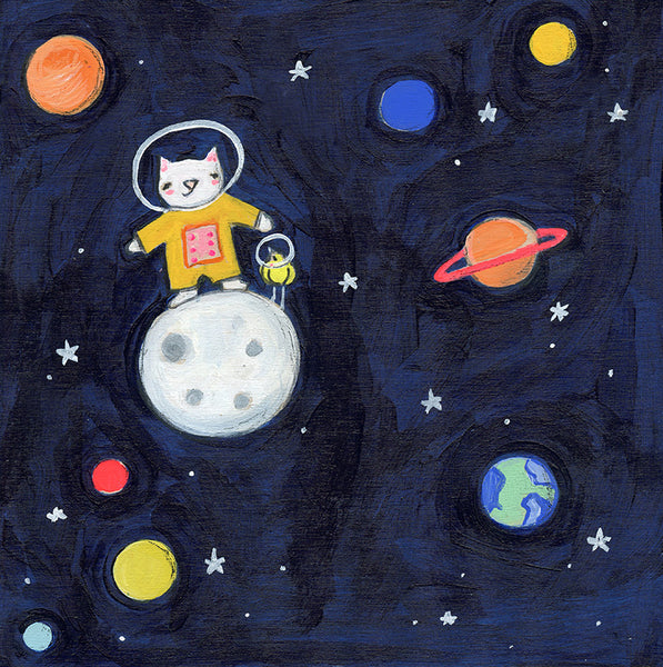 space cat and space bird moon landing | print