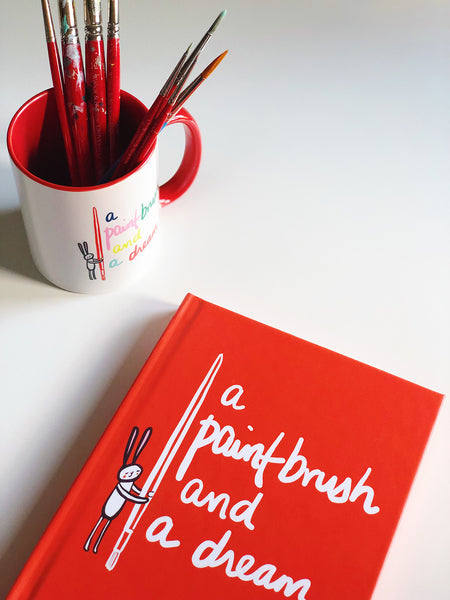 A Paint Brush and a Dream | Red Hard Cover Journal