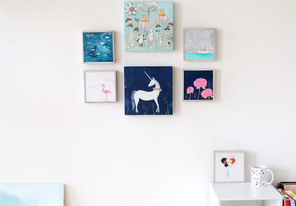 a bunny a bear a giraffe a bird on beautiful planet earth | canvas or mini framed canvas | 1 of each available