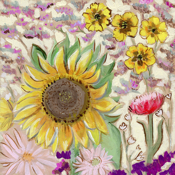 sunflower bouquet | canvas or mini framed canvas | 1 of each available