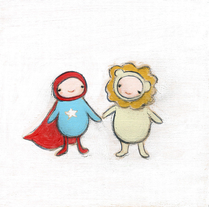 superhero and the lion | print