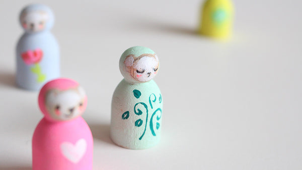 Tiny Bear Totems | hand painted