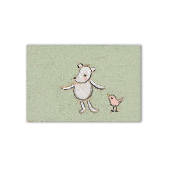 "tiny bear + bird  | 3"" x 2"" original"