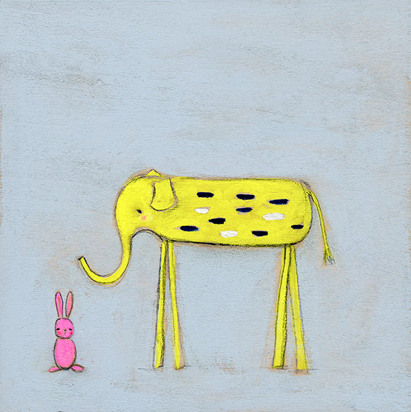 Yellow Elephant and the Pink Bunny | original