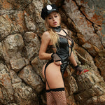 Beautiful woman in erotic, sexy leather police costume