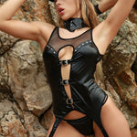 Closeup of beautiful woman in erotic, sexy black leather police costume