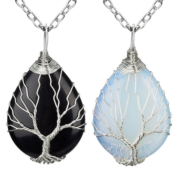 Black and Sky Colored Tree of Life Necklaces