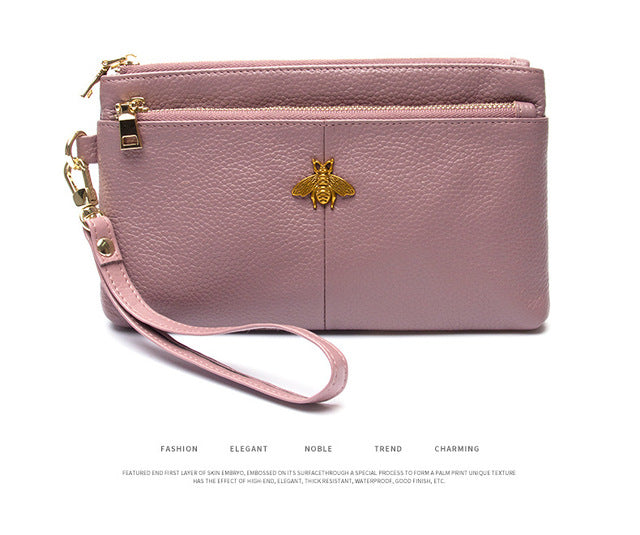 Rose Colored Women's Genuine Leather Clutch