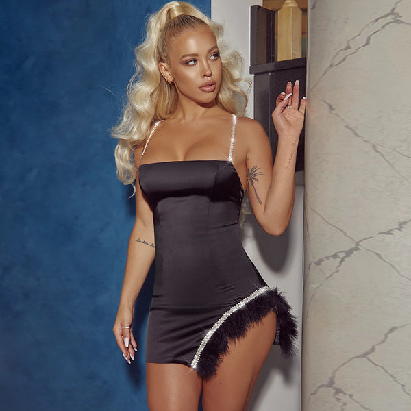 Sexy Blonde Woman in a Black Mini Bodycon Sexy Summer Party Dress