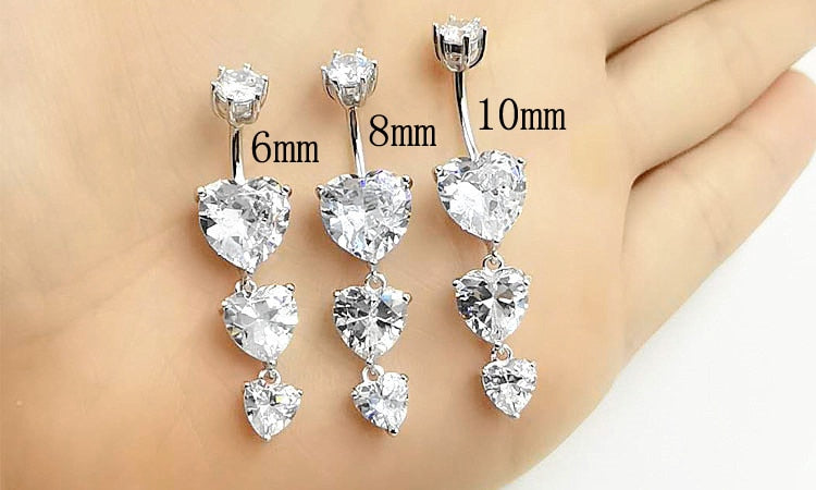 Sizes available to Buy of 925 Sterling Silver and Zircon Belly Jewelry