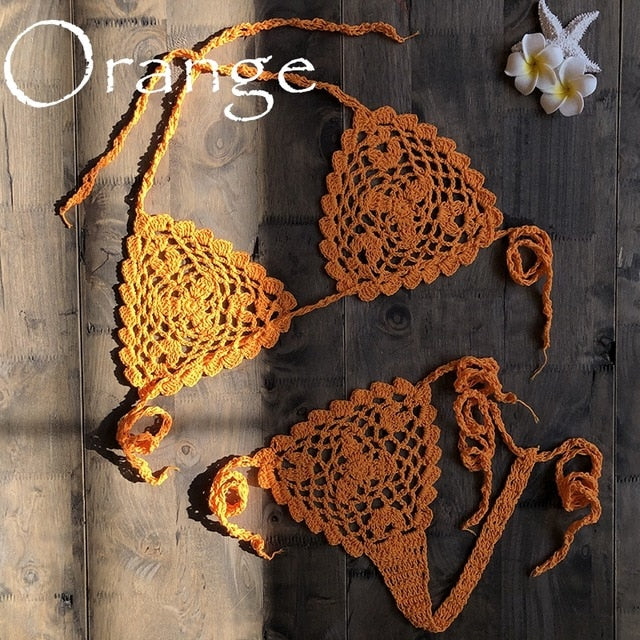 Orange Handmade Crochet Micro Bikini
