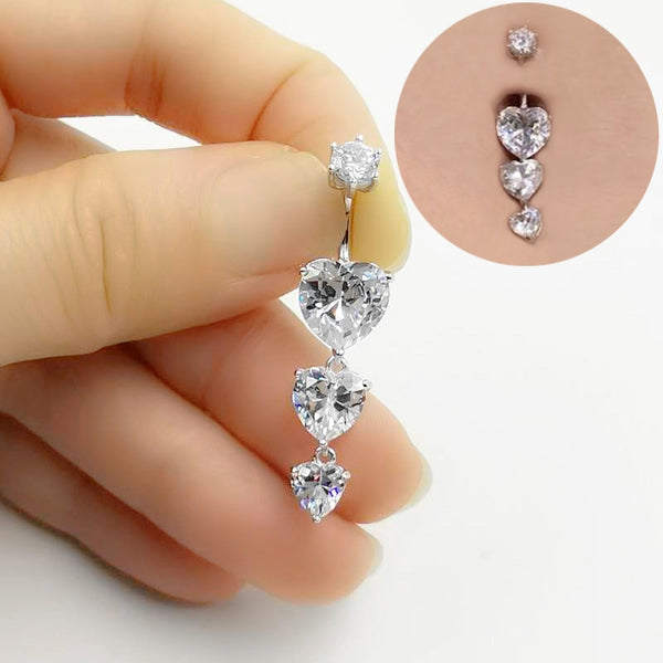 925 Sterling Silver and Zircon Belly Jewelry