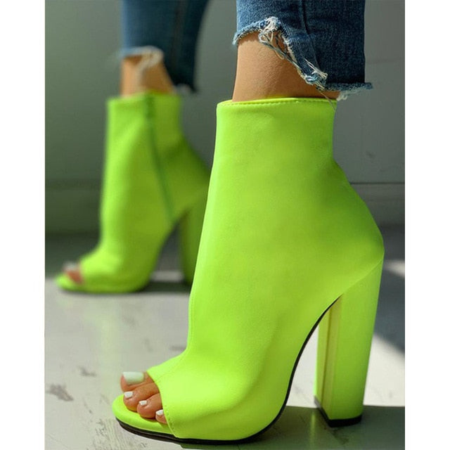 Bright Green Zippered High Heel Shoes