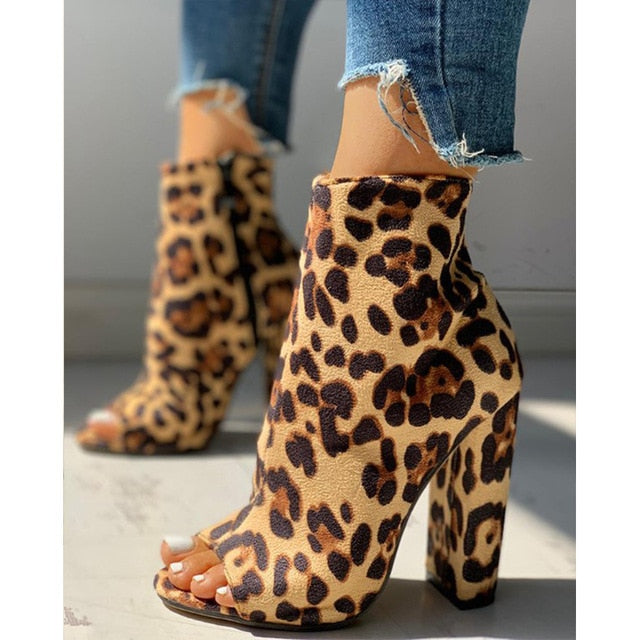 Leopard Zippered High Heel Shoes