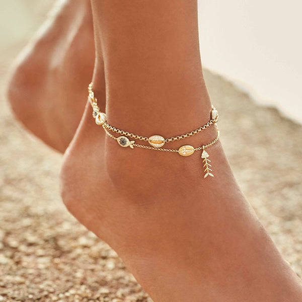 Pure 925 Sterling Silver and Zircon Gold Colored Sea Life Ankle Bracelets