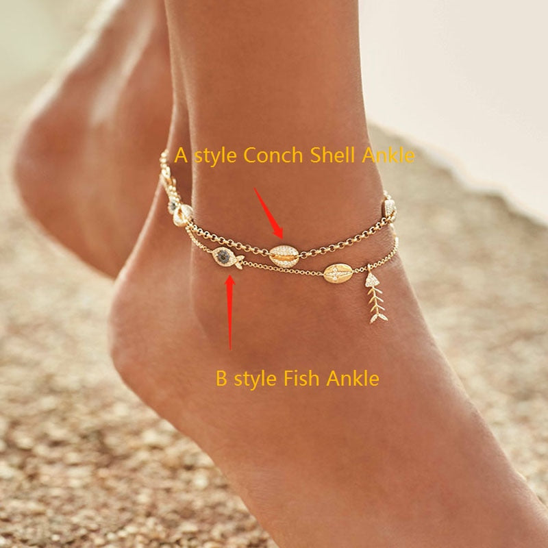925 Sterling Silver and Zircon Gold Colored Ankle Bracelets