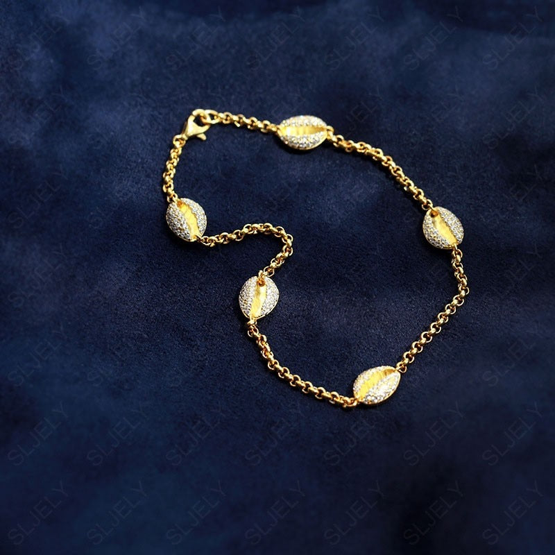 925 Sterling Silver and Zircon Gold Colored Conch Shell Ankle Bracelets