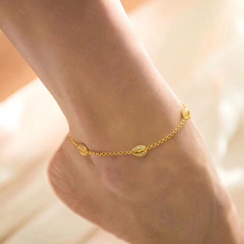 925 Sterling Silver Gold Colored Ankle Bracelet