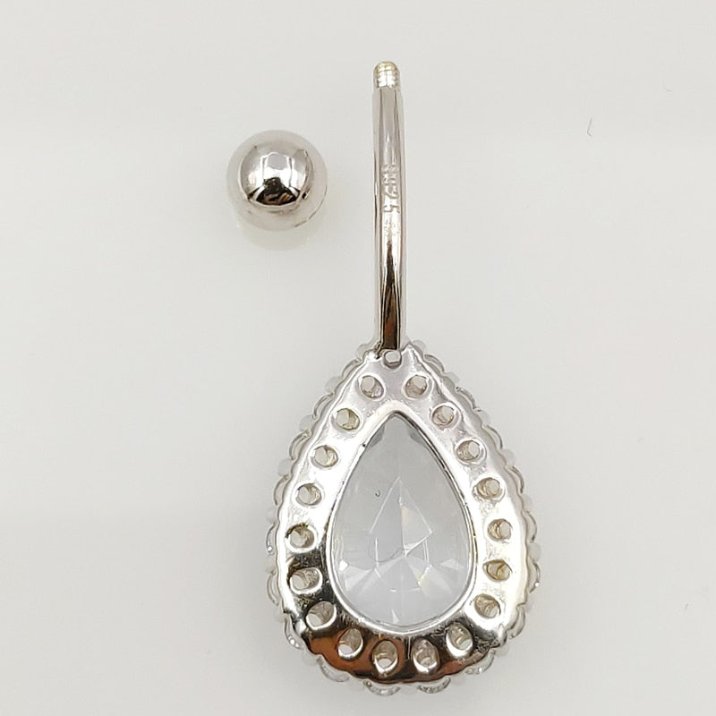925 Sterling Silver Teardrop Pierced Navel Jewelry
