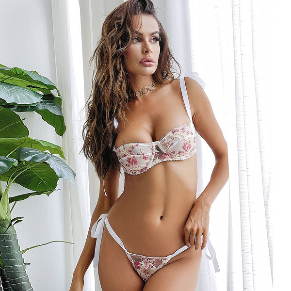 Pretty Woman in White Embroidered Flower See Through Lingerie Set