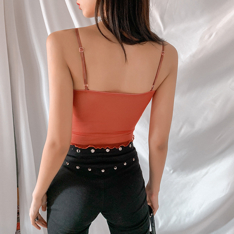 Back View of a Sexy Sheer Mesh Camisole Crop Top