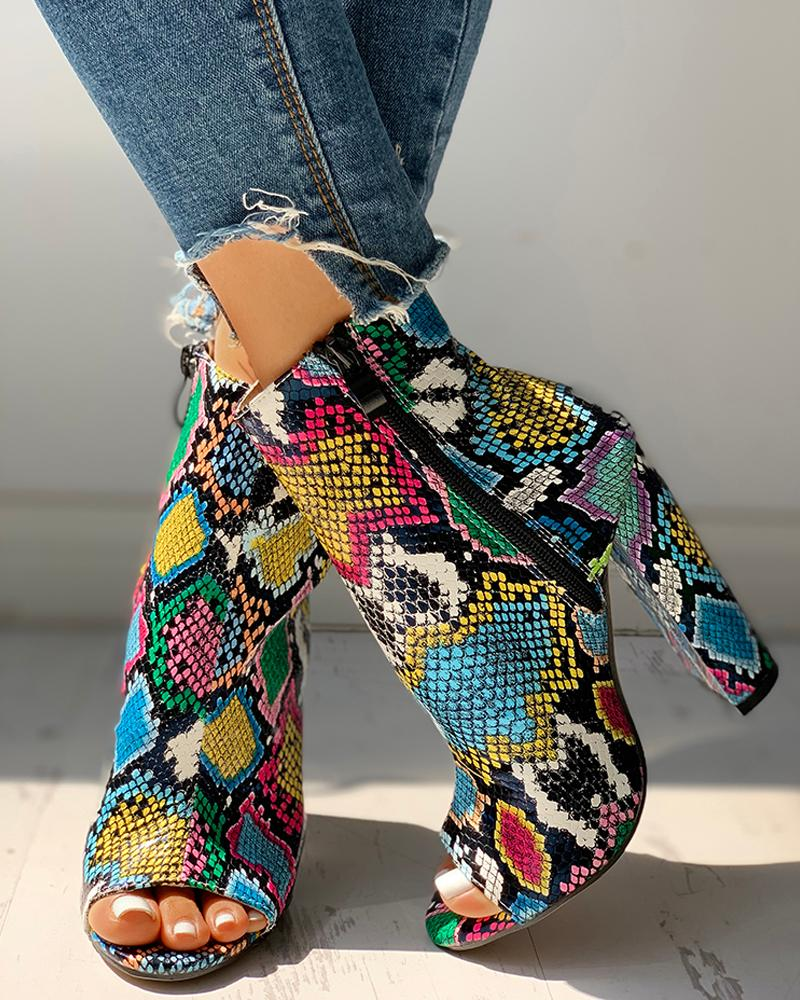 Serpentine Zippered High Heel Shoes