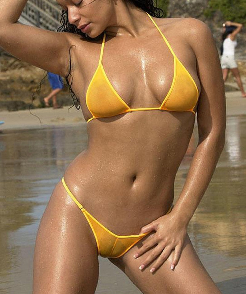 Mesh See-Through Micro Bikini Set
