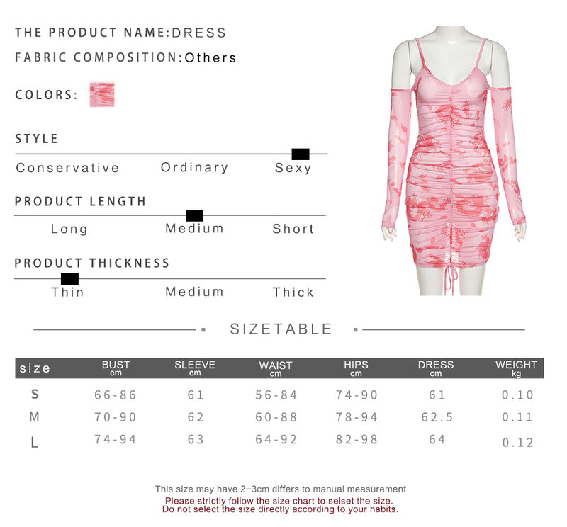 Size and Product Information for Off Shoulder Bodycon See-Through Mesh Dress