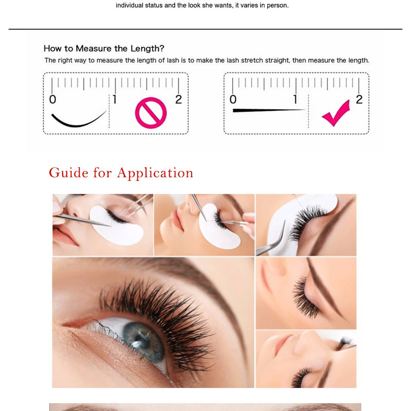 False Eyelash Application Instruction Illustration