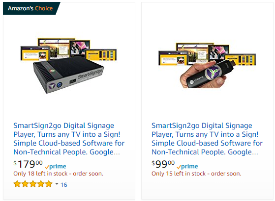 small business digital signage on Amazon from SmartSign2go