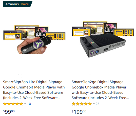 digital signage from smartsign2go on Amazon