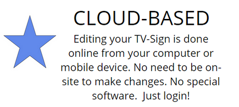Update your digital signs from anywhere with our cloud-based portal!