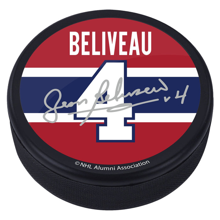 Jean Beliveau Montreal Canadiens Alumni Player Replica Signature Puck