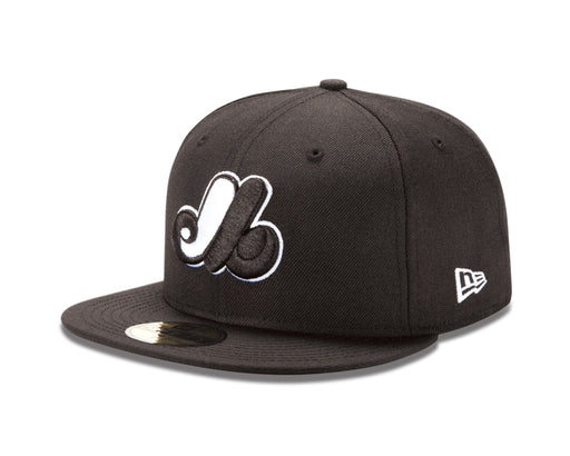 Montreal Expos New Era 59FIFTY Black White  Fitted Hat