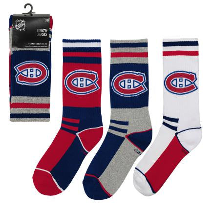 Montreal Canadiens Youth 3pk  Socks