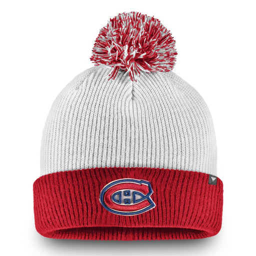 Montreal Canadiens Fanatics White Depth Cuffed Knit Pom Hat