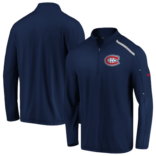 Montreal Canadiens Fanatics Navy Authentic Pro Clutch 1/4 Zip Pullover