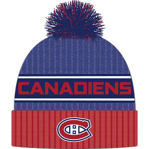 Montreal Canadiens Fanatics Blue/Red Beanie Cuff Knit Pom
