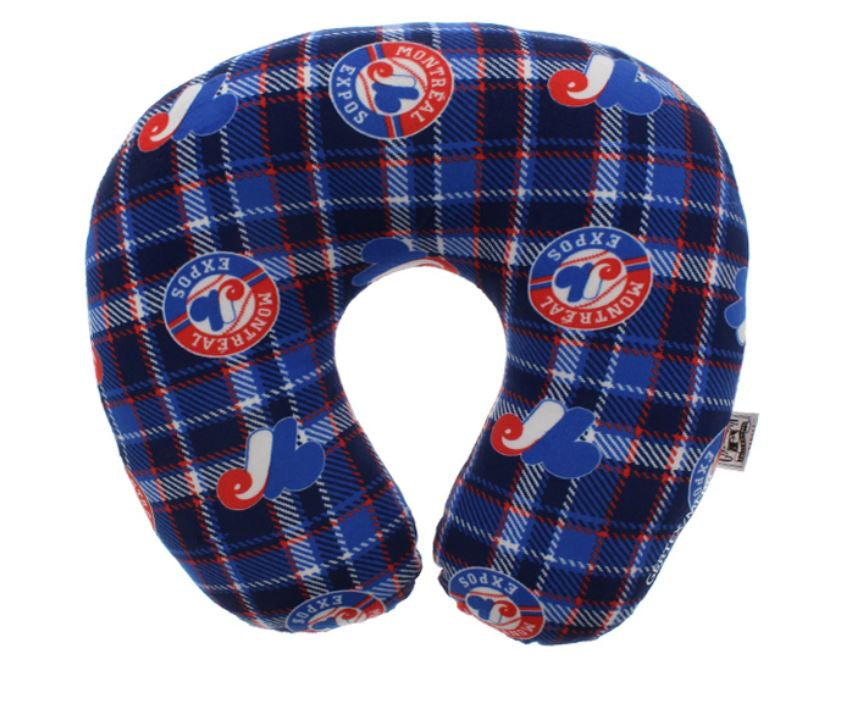Montreal Expos MLB Plaid Travel Neck Pillow
