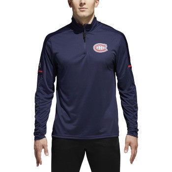 Montreal Canadiens Adidas Navy 1/4 Zip Long Sleeve Tee