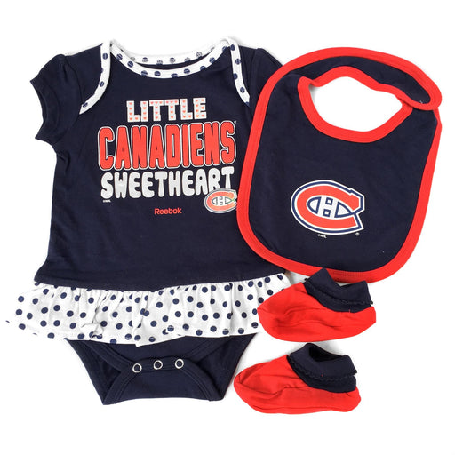 Montreal Canadiens Girls 3 Piece Creeper Set